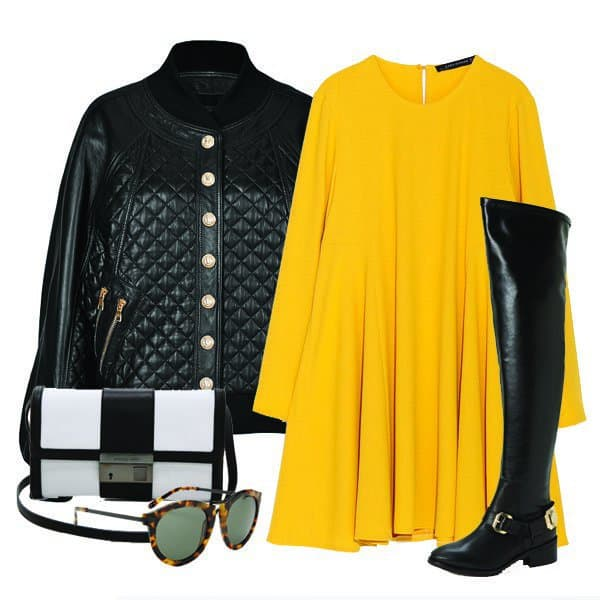 Long-sleeve dress with quilted leather jacket, boots, handbag and sunglasses