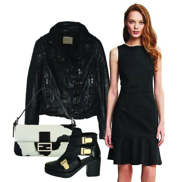 Sleek suit flounce dress with leather jacket, boots and handbag