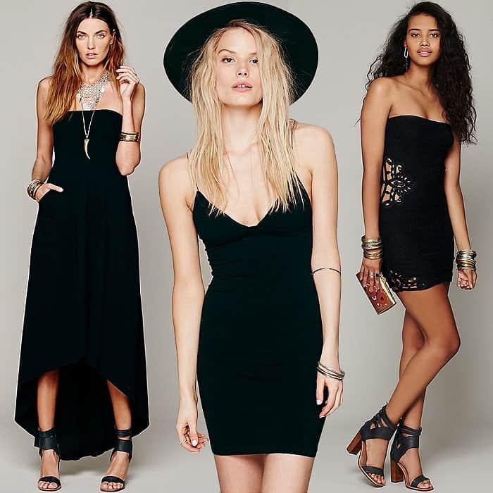 Black strapless scoop neck dresses