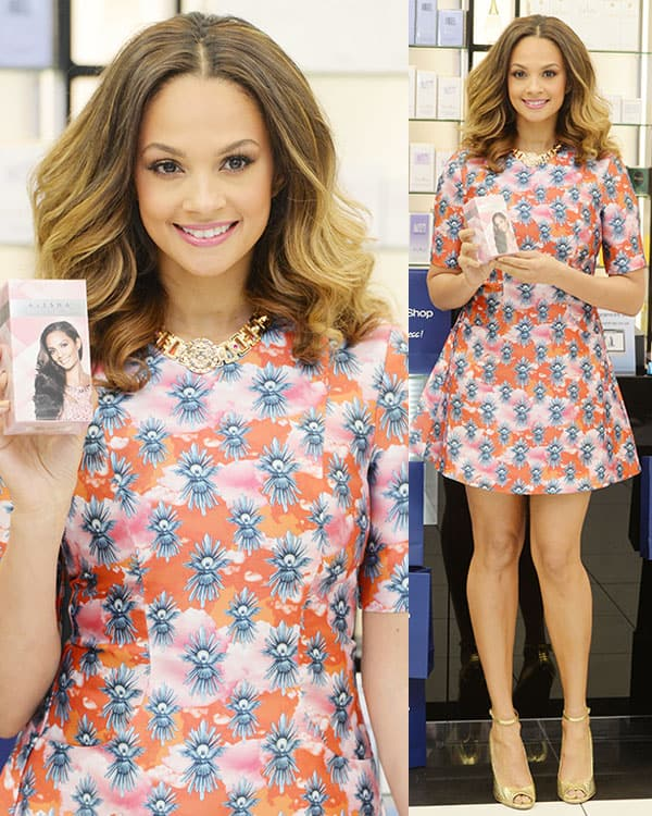 Alesha Dixon at the launch of her Rose Quartz fragrance at The Fragrance Shop