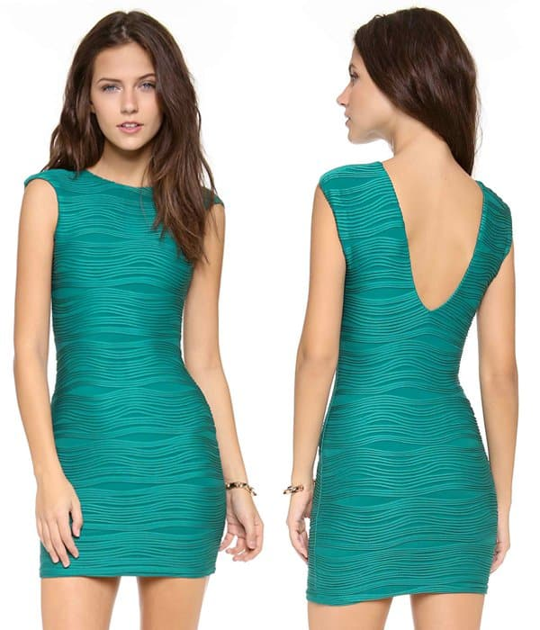 Slender ribbing adds a mesmerizing quality to this textured jade dress