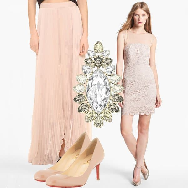 Diane von Furstenberg dress with lace skirt, brooch, and nude pumps