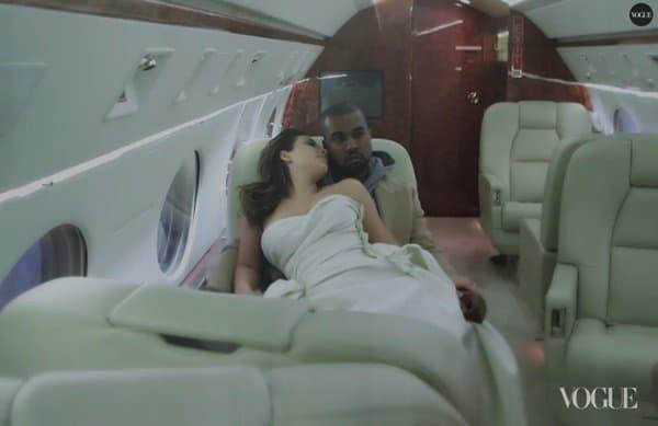 Kim Kardashian and Kanye West on a private plane