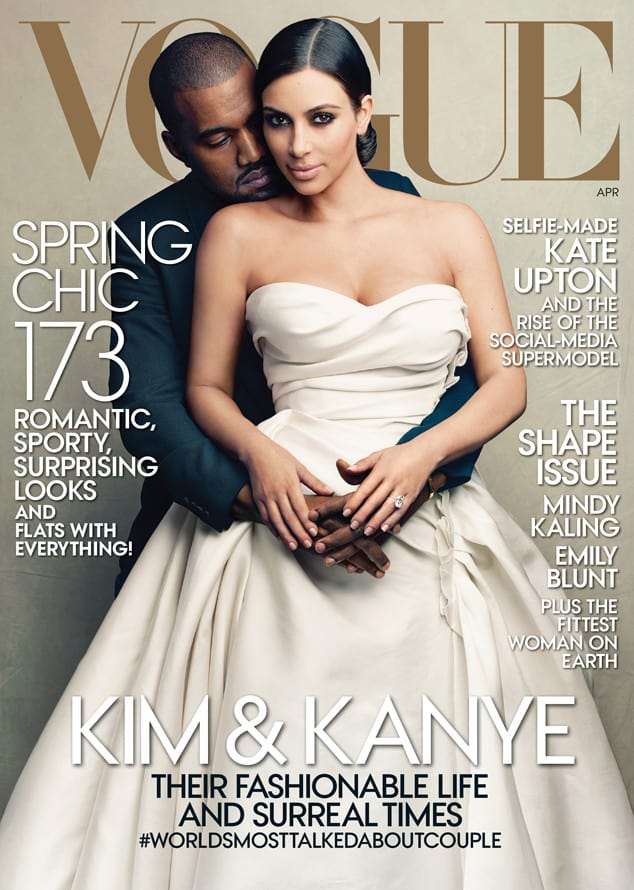 Kanye West and Kim Kardashian on the cover of Vogue magazine's April 2014 issue