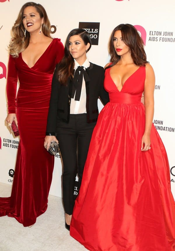 Kim wore a Celia Kritharioti dress and Lorraine Schwartz jewelry, Khloe opted for a Marc Bouwer dress, while Kourtney picked a gown by Saint Laurent