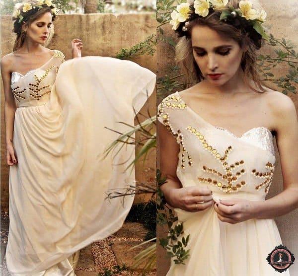 Nadja wears a glamorous embellished one-shoulder dress