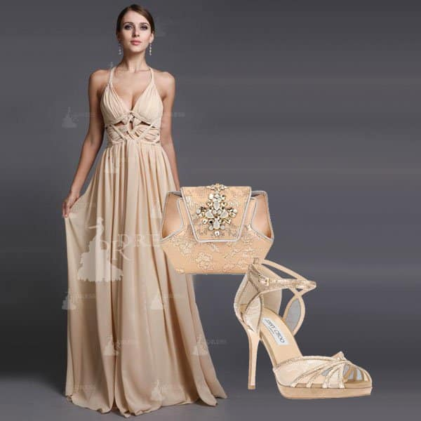 Off-white prom dress with Rene Caovilla clutch and Jimmy Choo sandals