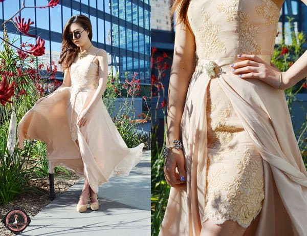 Q2Han's neutral cocktail dress is perfect for prom