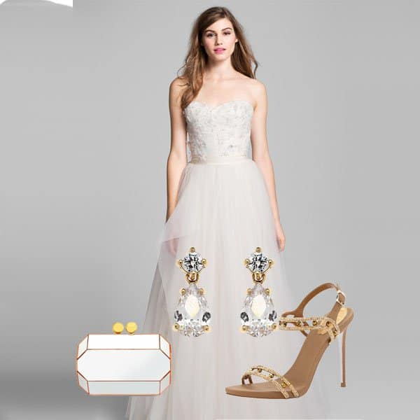 Beaded lace & tulle ball dress with teardrop earrings, plexi clutch and gold sandals