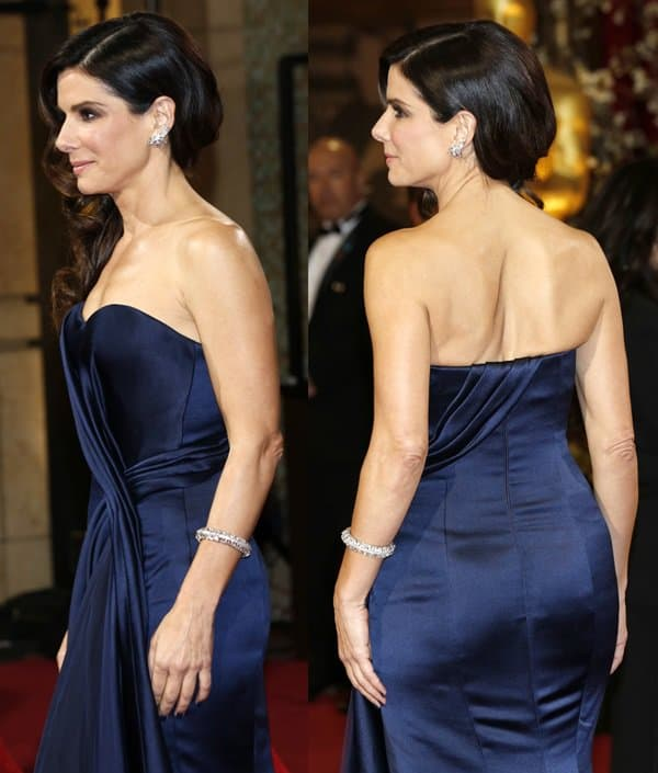 Sandra Bullock wore a navy Alexander McQueen gown