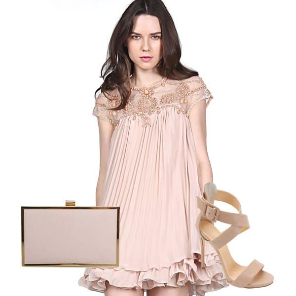 Short-sleeve lace pleated chiffon dress with clutch and ankle-strap sandals