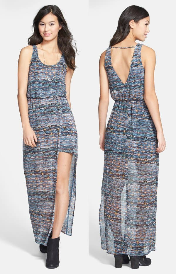 Lush Faux-Wrap Chiffon Maxi Dress in Navy/Multi