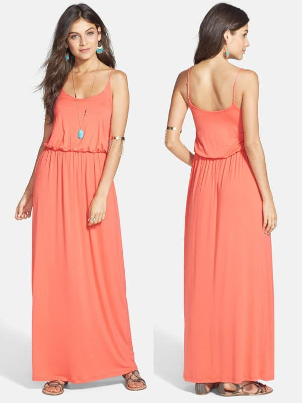 Coral Lush Knit Maxi Dress