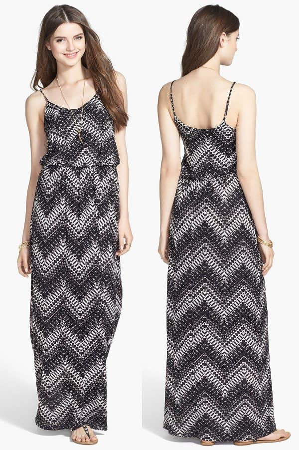 Black-and-white gets interesting in this knit maxi dress that features a dynamic chevron pattern