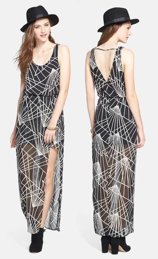 Lush Faux-Wrap Chiffon Maxi Dress in Black and White