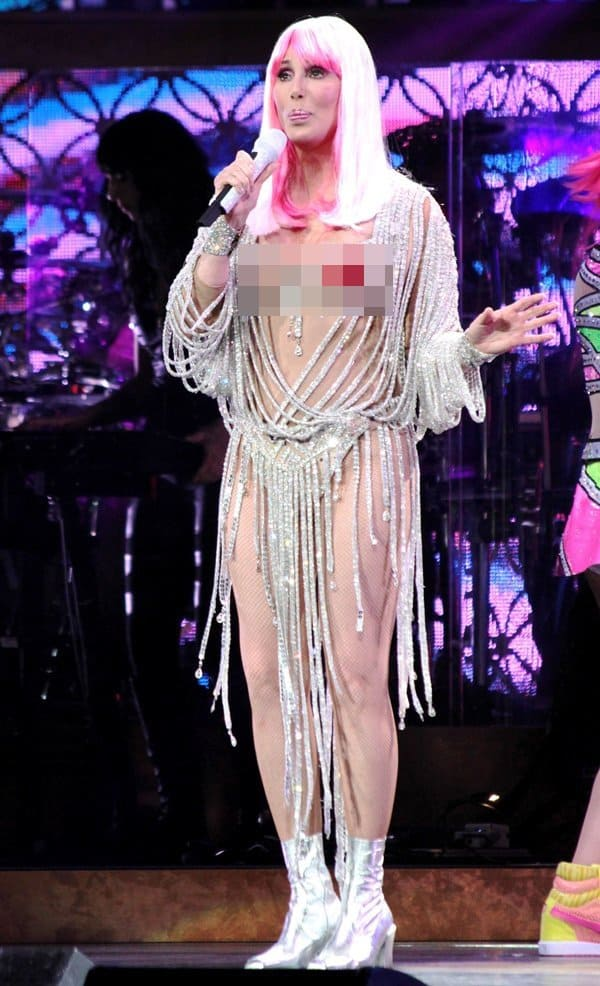 Cher performing in her concert held at TD Garden in Boston, Massachusetts, on April 9, 2014