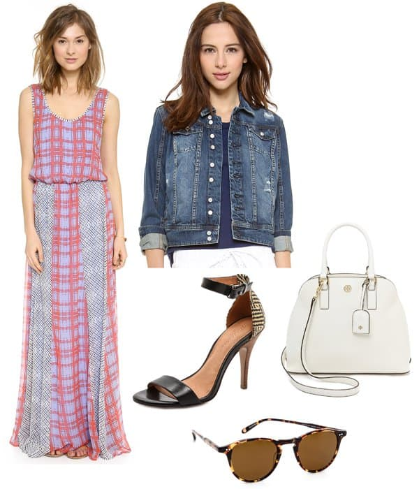 "Blank Denim Jean Jacket and Ella Moss Paige Maxi Dress in Cornflower and Madewell The Casablanca Heeled Sandals and Tory Burch ""Robinson"" Open-Dome Satchel and Garrett Leight Hampton Sunglasses"