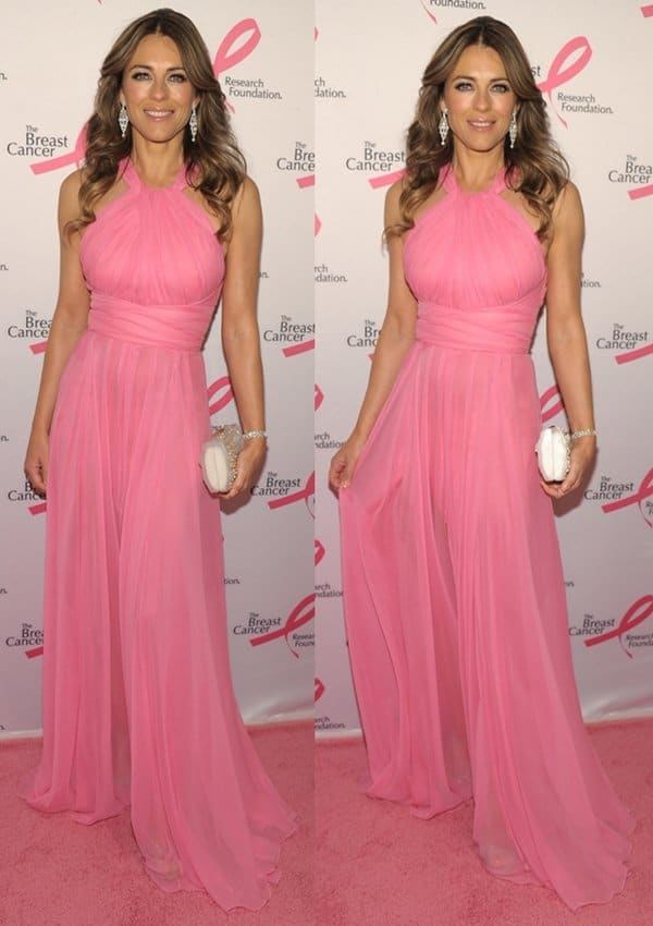 Elizabeth Hurley was radiant on the pink carpet in her Versace Collection halter chiffon gown