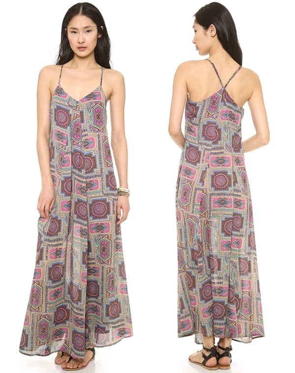 A sweet paisley print adds colorful flair to a Love Sadie maxi dress