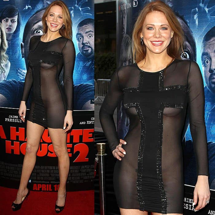 Maitland Ward in a sheer dress at the 'A Haunted House 2' premiere held at Regal Cinemas L.A. Live in Los Angeles, California, on April 16, 2014