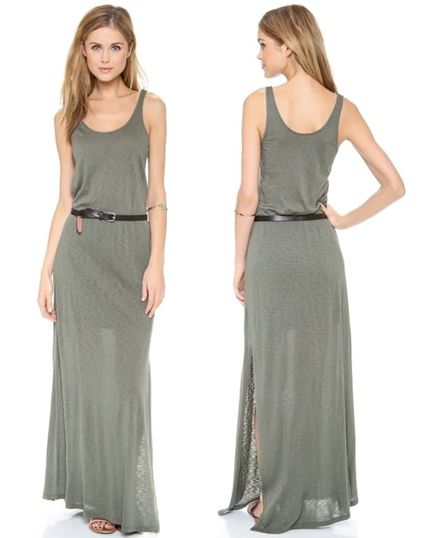 An olive green tank dress cut from soft, slubbed jersey