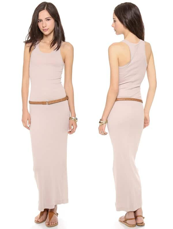 "This scoop-neck, racer-back ribbed jersey long dress features a topstitched vertical back seam. 1.5"" straps"