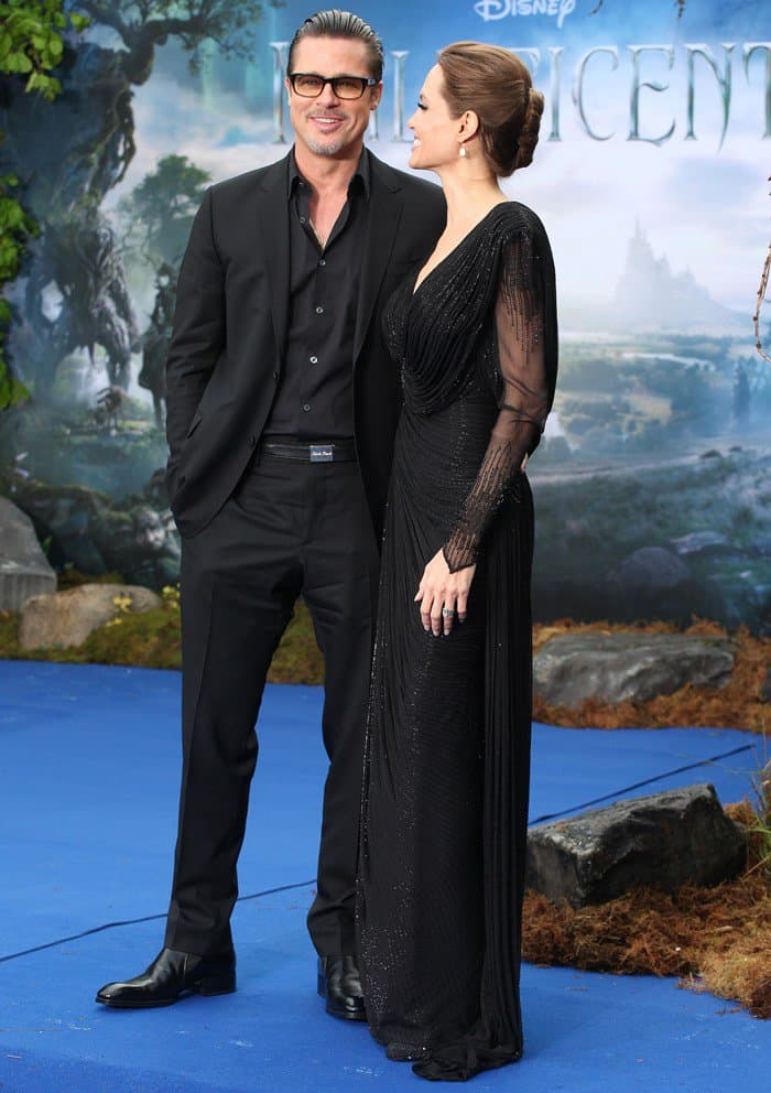 Angelina Jolie and Brad Pitt at a 'Maleficent' film event in Kensington Palace in London, England, on May 8, 2014