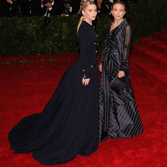 Ashley and Mary-Kate Olsen attend the 'Charles James: Beyond Fashion' Costume Institute Gala held at the Metropolitan Museum of Art on May 5, 2014 in New York City
