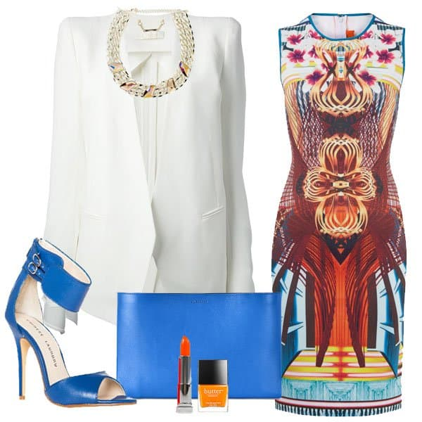 Furniture weave neoprene dress with blazer, blue sandals and accessories