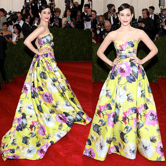 Emmy Rossum attends the 'Charles James: Beyond Fashion' Costume Institute Gala held at the Metropolitan Museum of Art on May 5, 2014 in New York City