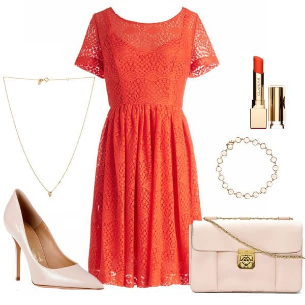 Orange dress with nude pumps and accessories
