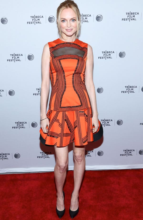 Heather Graham wearing a Robert Rodriguez dress and a Graziela Gems bangle at the Goodbye to All That premiere