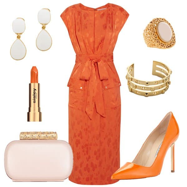 Satin-jacquard dress with matching pointy pumps and accessories