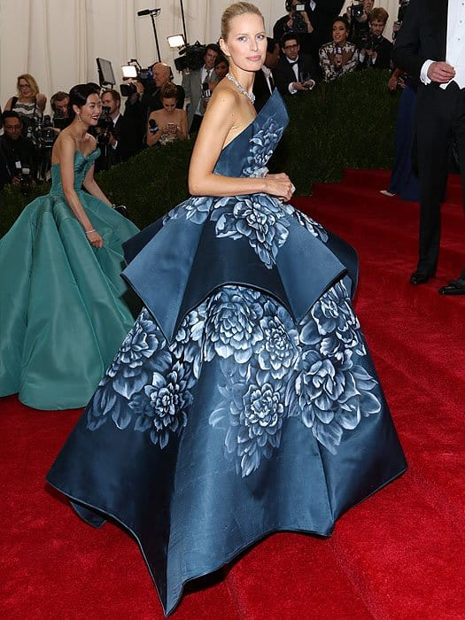 Karolina Kurkova wearing a Marchesa Spring 2011 gown at the 'Charles James: Beyond Fashion' Costume Institute Gala held at the Metropolitan Museum of Art on May 5, 2014 in New York City