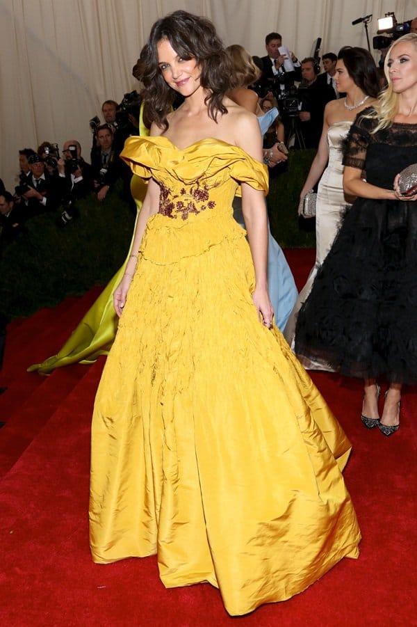 Katie Holmes In Mustard Yellow Marchesa Gown Worst