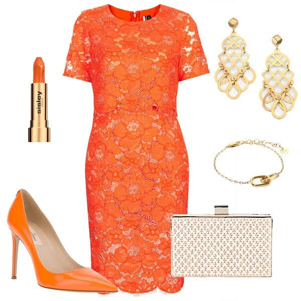 Orange lace pencil dress with matching pumps and accessories