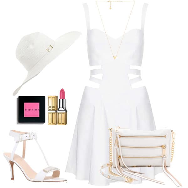 An all-white outfit can make an icy statement