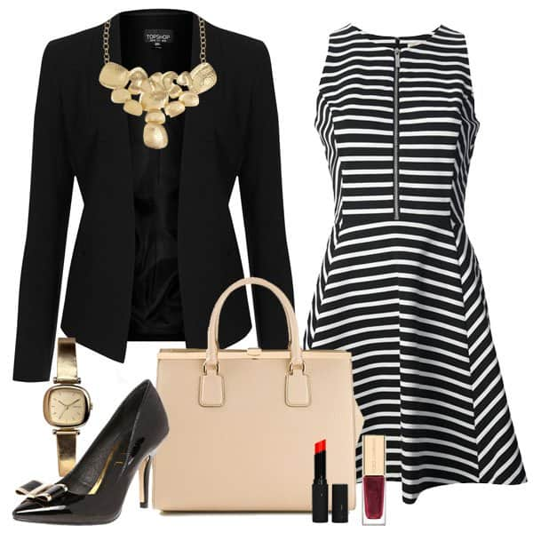 Striped jersey dress with blazer and accessories