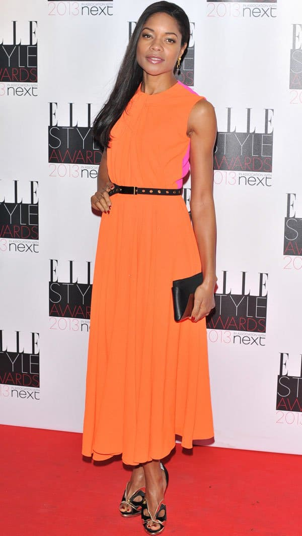 Naomie Harris in an orange dress at the Elle Style Awards