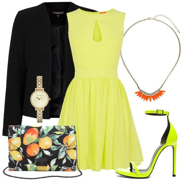 Yellow skater dress with matching heels, a black jacket and accessories
