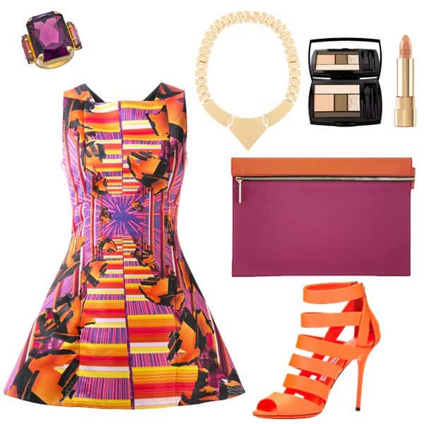 Graphic-print dress with neon orange sandals and accessories