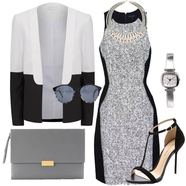 Beautiful dress with blazer, sandals, and accessories