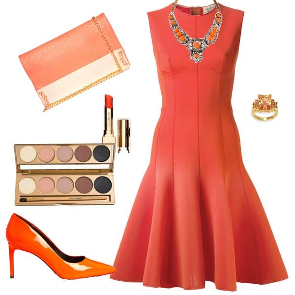 Neoprene dress with orange pumps and matching accessories