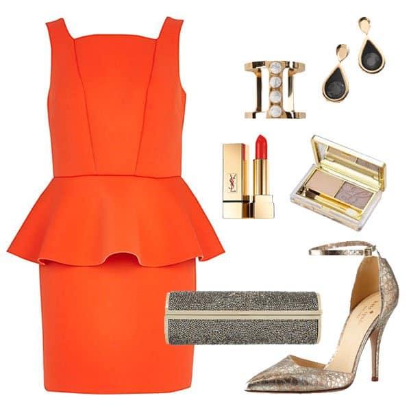 Orange scuba peplum pencil dress with metallic heels and accessories