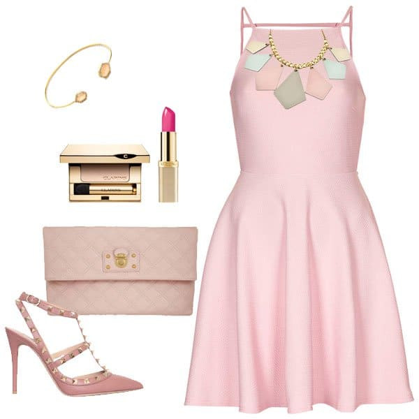 Pink textured backless skater dress with matching accessories