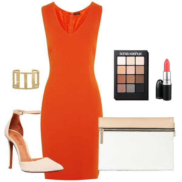 Orange dress with ankle-strap shoes and accessories