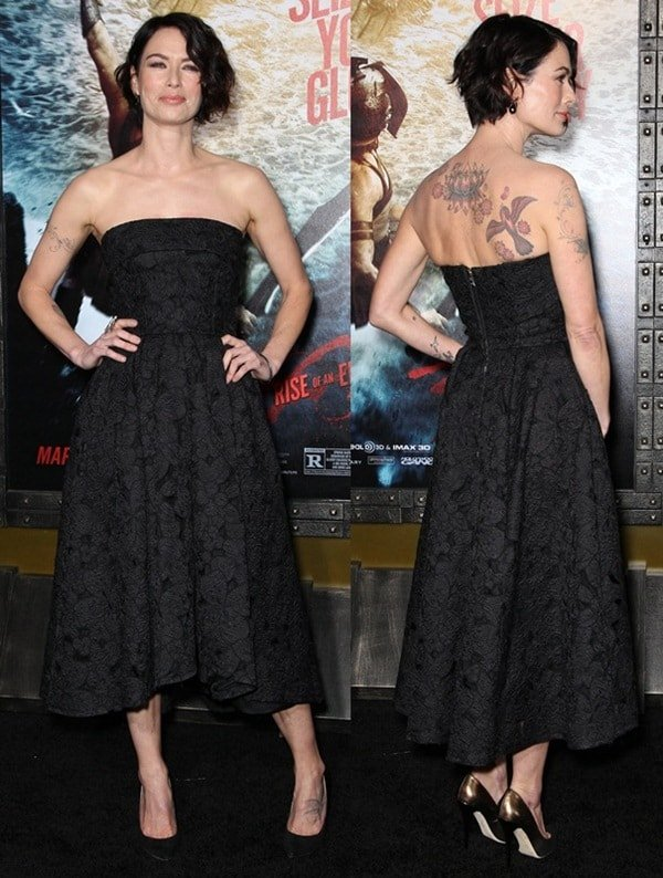 Lena Headey showing off her badass tattoos at the '300: Rise of an Empire' Hollywood premiere held at the TCL Chinese Theatre in Hollywood on March 5, 2014