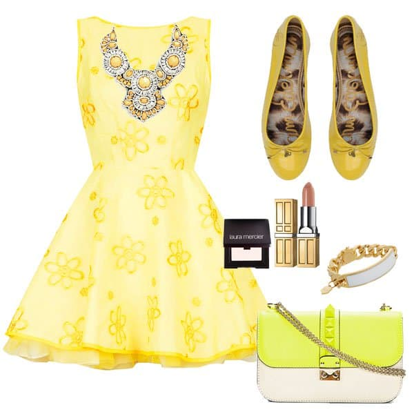 Yellow dress with ballet flats and matching accessories