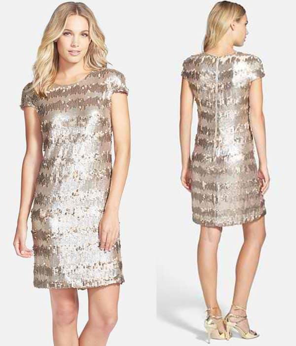 97220f5ce49c Vera Wang Gold Paillette & Sequin Shift Dress