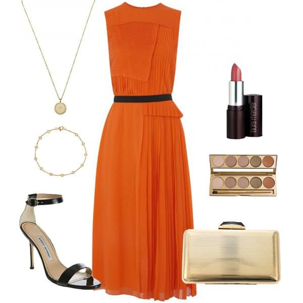 Orange pleated silk chiffon dress with black sandals and accessories